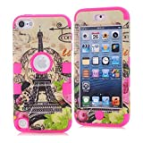 Touch 5 Case, iPod Touch 5th Case,Lantier 3 in 1 Combo Tuff Hybrid Shockproof Case Cover Protector for Apple iPod Touch 5 5th Generation with Eiffel Tower and Leaf Flowers Design Hot Pink