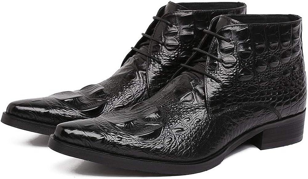 Schwarz 40 EU Sssxz Stiefel,Spitzschuhe Trend Leder Krokopr&au ;gung High-Top Lederschuhe Business Kleid Leder Stiefeletten
