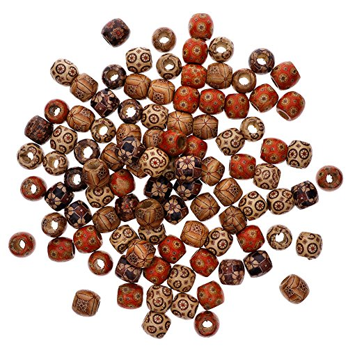 KeyZone Wholesale 300pcs 10mm Mixed Painted Drum Wood Spacer Beads Wooden Beads for DIY Jewelry Making Hair Accessories