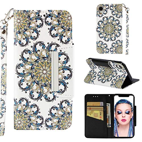 (Case for iPhone Xr,Durable 3D Printing PU Leather Kickstand Wallet Cover Shockproof Purse Case with Magnetic Closure Wrist Strap & Credit Card Holder Compatible with Apple iPhone Xr -Sun Flower)