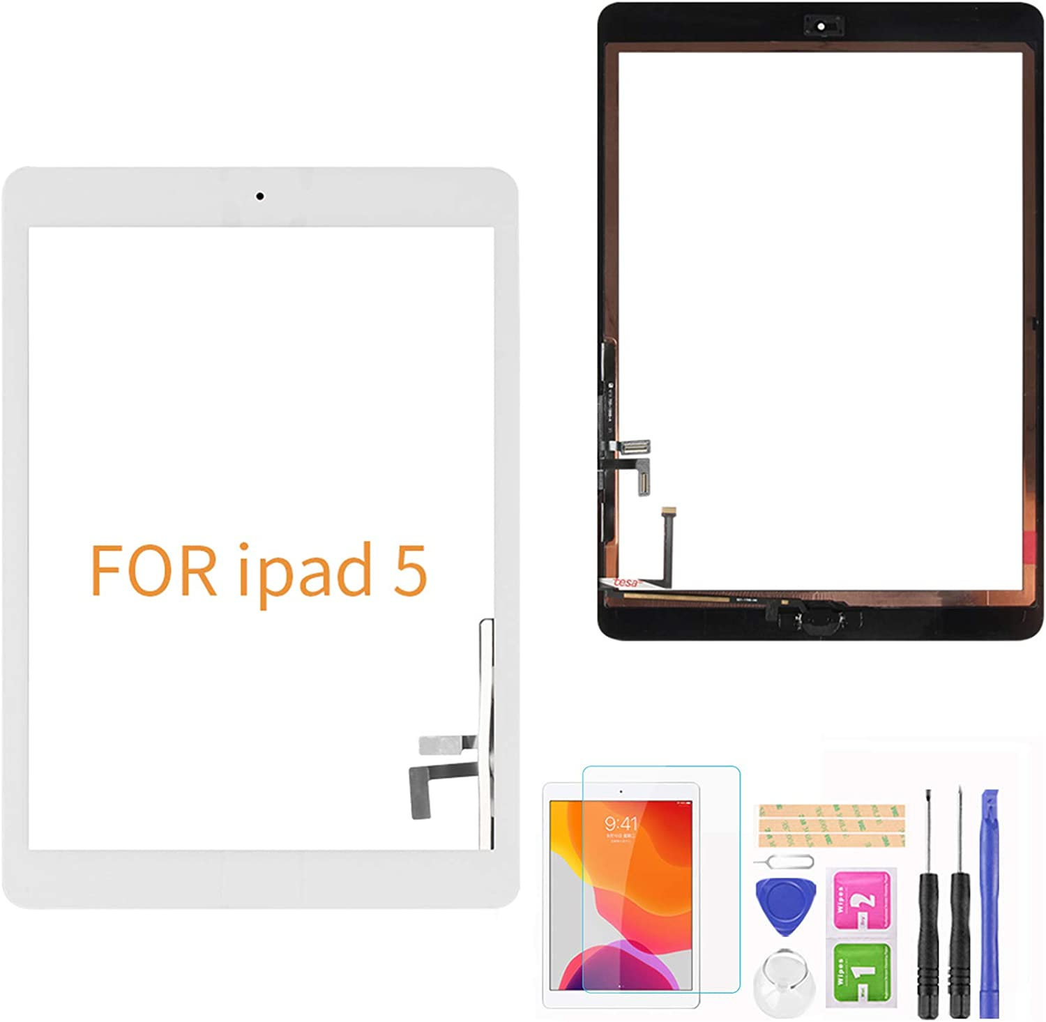 """A-MIND for iPad 5 9.7"""" 2017 A1822 A1823/ iPad Air 1st A1474 A1475 A1476 Touch Screen Replacement Parts (with Home Button) Front Glass Panel( LCD Not Include ) with Kits &Screen Protector …(White)"""