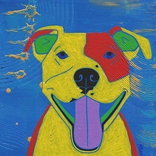 Super Nova Pitbull Ceramic Tile Coaster, Dog Art Decor by Angela Bond