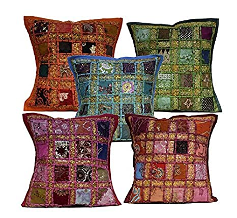 Amazon.com: 5 Multi bordado lentejuelas Patchwork Indian ...