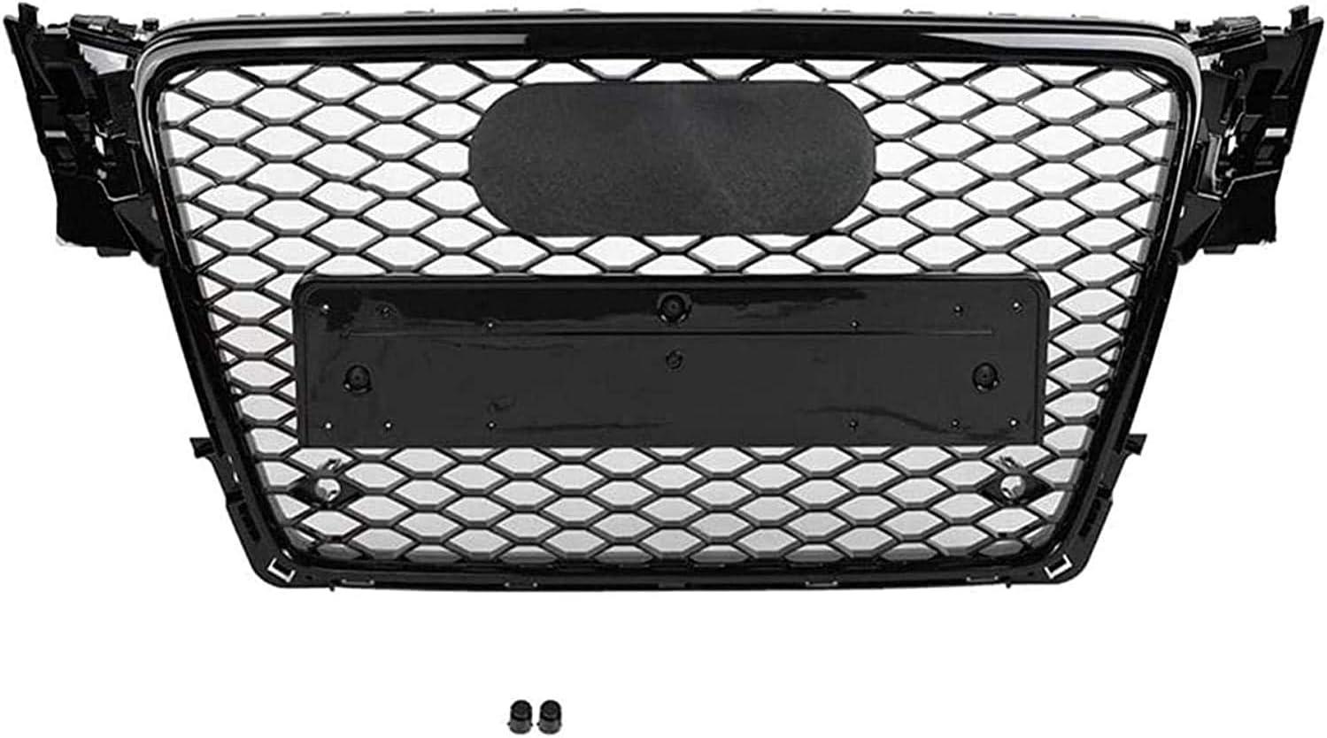 Adecuado para AUD-I A4 // S4 B8 2009 2010 2011 2012 Rs4 Gloss Black Style ACYCY Rejilla del Radiador Sport Hexagon Mesh Nido De Abeja Black Black Black