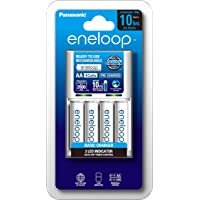 Panasonic AA And AAA Eneloop Overnight Basic Battery Charger With 4-Pack AA Ready-To-Use Ni-MH Rechargeable Batteries (K…