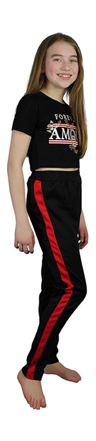 Ozmoint Kids Childrens Girls Fashion Black Pants Bottoms With Red Side Sports Stripe Girl Blacksporty Casual Trousers With Contrast Red Side Panel 7-13 Years