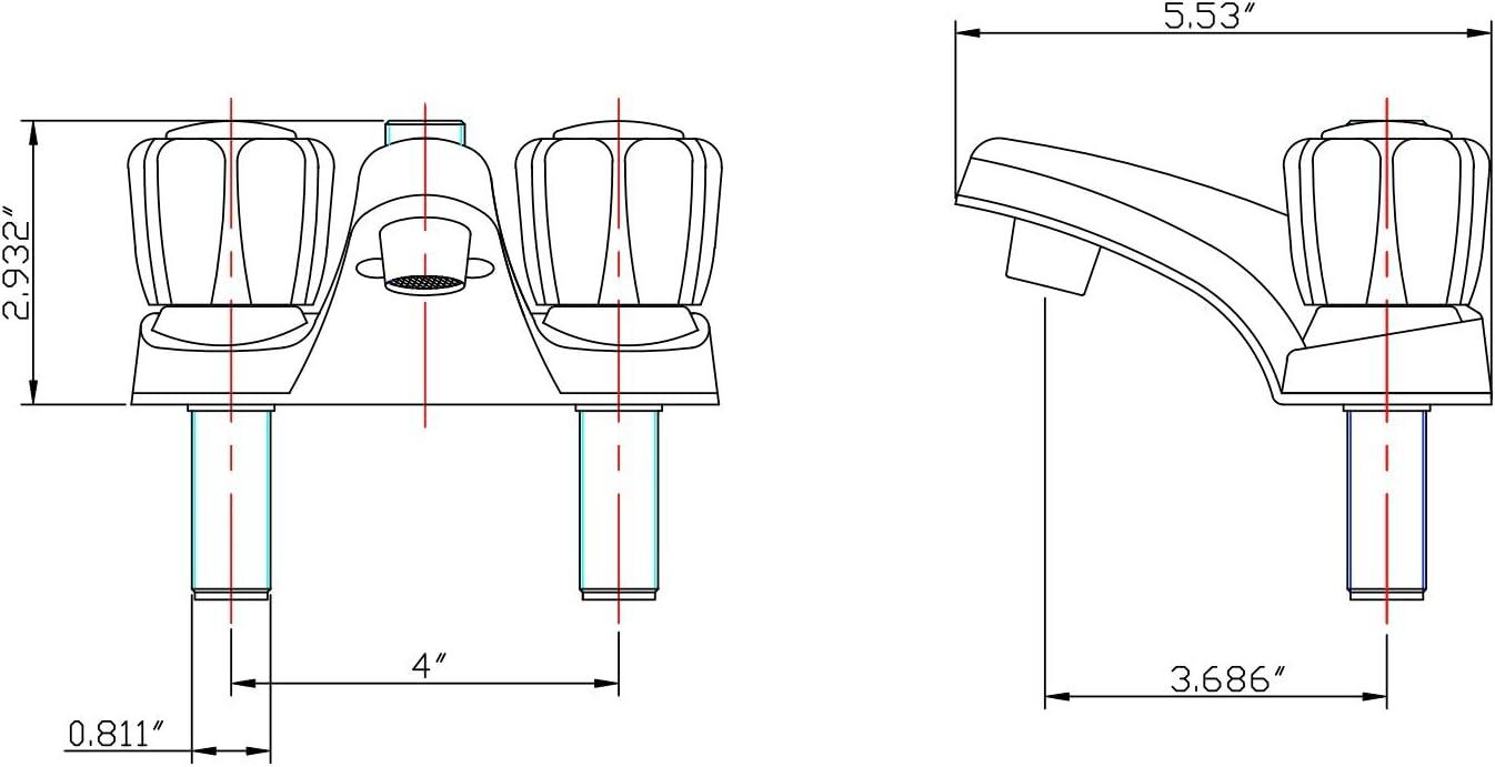 Grifo de lavabo con manguera de ducha para todos los veh/ículos recreativos y autocaravanas Dura Faucet RV