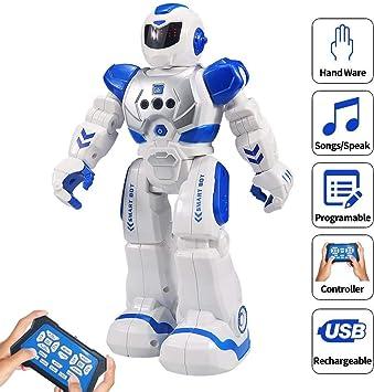 HUSAN RC Robot per Bambini, Robot Intelligente Interattivo Controllo a Infrarossi Programmabili Canto Danza Robot Sensazione di gesti Giocattoli per