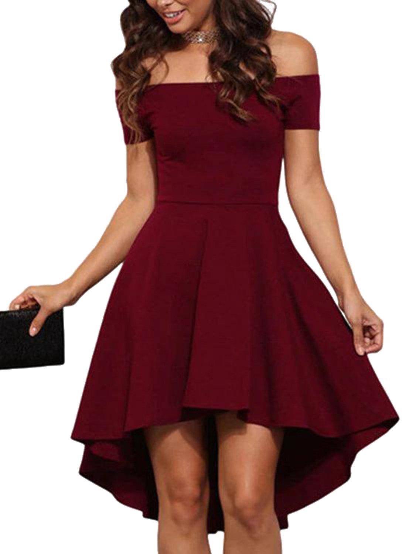 YOINS Women Off Shoulder Short Sleeve High Low Skater Dress Formal Party Cocktail Wine Red XS