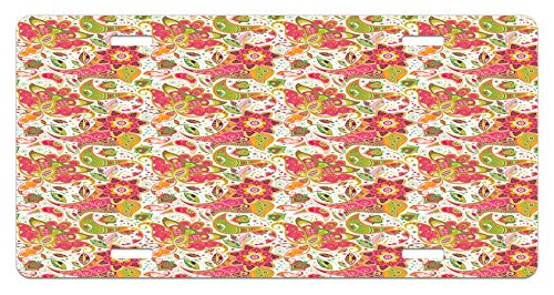 Batik License Plate by Lunarable, Ethnic Paisley Motifs with Spring Blossoms and Fresh Exotic Fantasy Artwork Print, High Gloss Aluminum Novelty Plate, 5.88 L X 11.88 W Inches, Green Pink