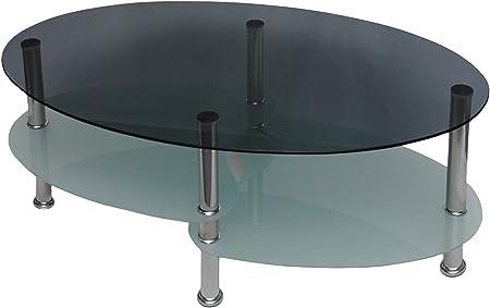 Table Basse Table De Salon Ovale 8mm Verre De Securite Trempe Et Fume Amazon Fr Cuisine Maison