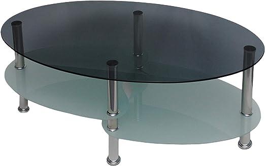 Mesa de centro en vidrio templado y acero 60 cm x 100 cm: Amazon ...