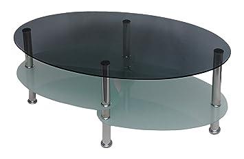 Table De Ovale8mm Salon Et Verre Fumé Sécurité Trempé Basse WIHYE29D