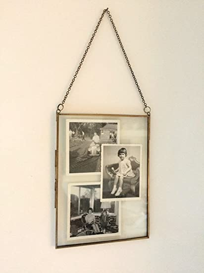 Amazon.com: Antique Brass Glass and Metal Frame Picture Photo Frame ...