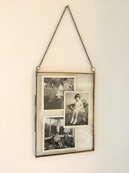 Amazon.com: Antique Brass Glass/ Metal Picture Photo Frame Vintage ...