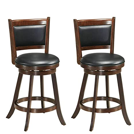 Astounding Costway Bar Stools Set Of 2360 Degree Swivel Accent Wooden Swivel Back Counter Height Bar Stool Fabric Upholstered Design Pvc Cushioned Seat Spiritservingveterans Wood Chair Design Ideas Spiritservingveteransorg