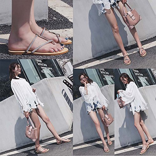Zapatillas Woman 34 Simple Temperamento Sandals Jianxin Sandalias color Flat Tamaño Exteriores Summer Diamante Beach Taladro Beige Toe Personas Y Uw6qz5fx