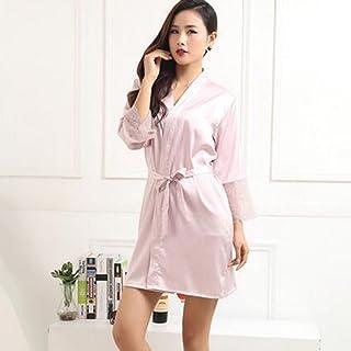 Boxer Briefs Women's Short Kimono Robe Lingerie Bridal Silky Lace Trim Satin Sleepwear (Color : E, Size : M)