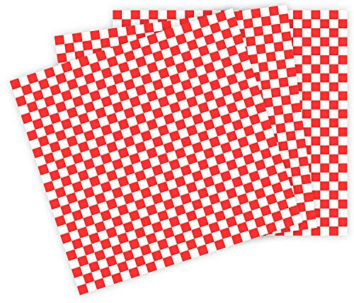 12x12 Grease Resistant Sheet, RED Checkered, Basket Liner, Wrap, 1000 Sheets Per Box, Brown Paper Goods 7B12-RC