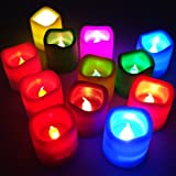 VRCT Plastic Colour Changing Flickering Flameless LED Candle Tea light - Diwali Decoration (12 Multi Candles Classic Series, Multi-Colour)-Set of 12