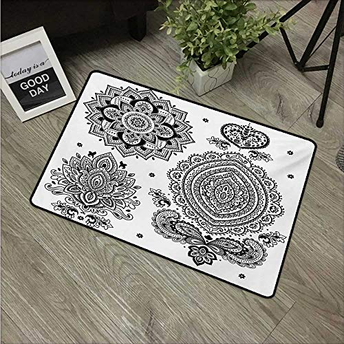 Henna,Carpet Flooring South Asian Art Inspired Design Elements Floral and Geometrical Style Ornamental W 31