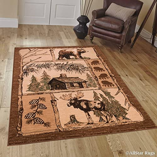 Allstar 5×7 Beige Cabin Rectangular Accent Rug with Mocha and Espresso Bordered Wildlife Moose Design 5 2 x 7 1