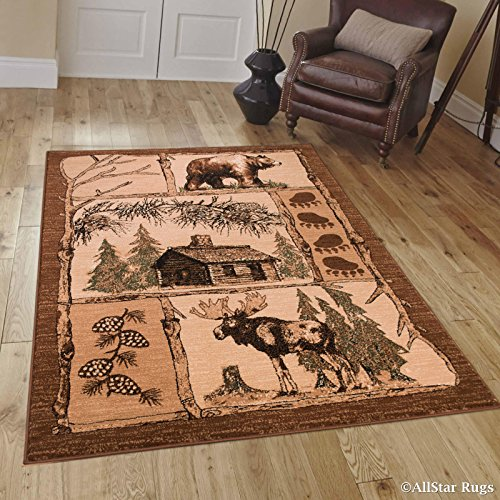 Allstar 8x10 Beige Cabin Rectangular Accent Rug with Mocha and Espresso Bordered Wildlife Moose Design (7' 6