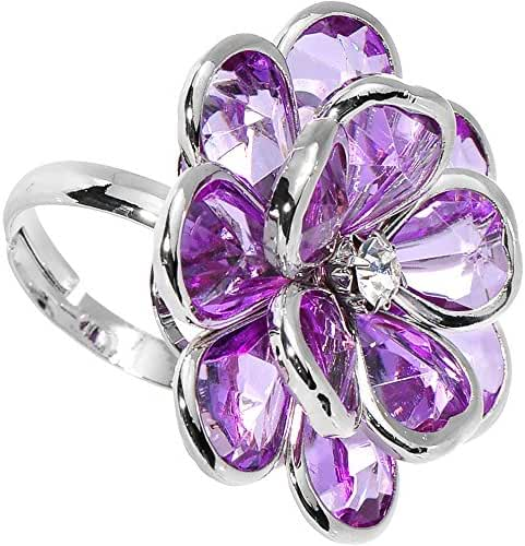 Purple Faceted Blooming Flower Adjustable Ring