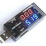 DOMYBEST Affichage Numérique USB Chargeur Médecin, Capacité Détecteur de Tension de Courant, Testeur de Batterie, Fonction de Mémoire