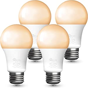 Alexa Smart Light Bulbs 4 Pack, Treatlife Dimmable LED Light Bulb 800 Lumen, Works with Echo Google Home, A19 E26 Warm White Light Bulbs, 9W (60W Equivalent), 2.4GHz WiFi Only
