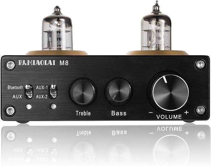 Nobsound plateado clase D, audio digital, 100 W, 50 W x 2 Amplificador de tubo de vac/ío con Bluetooth