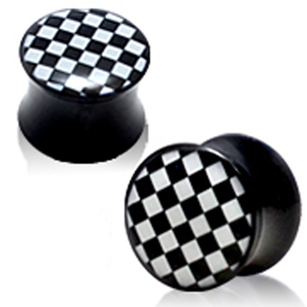 trending jewels Pair of Double Acrylic Flared Eyelets Chequered Design