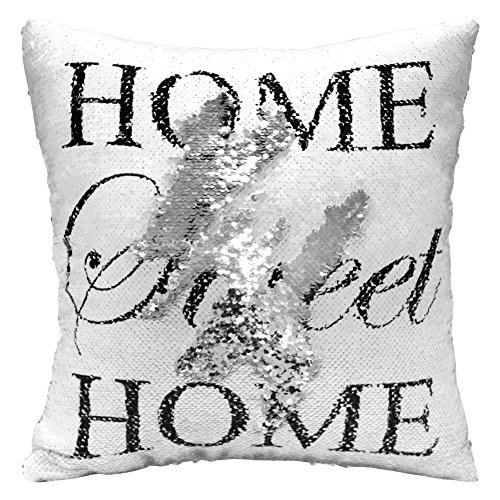 Play Tailor Mermaid Pillow Case, Magic Reversible Sequin Pillow Cover Throw Cushion Case 16X16 (White Silver with Home)