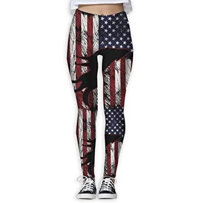 Tdhrv Whdyrl Women's Wolf US American Flag Animal Grunge Athletic Workout Yoga Leggings Stretchy High Waist Yoga Pants