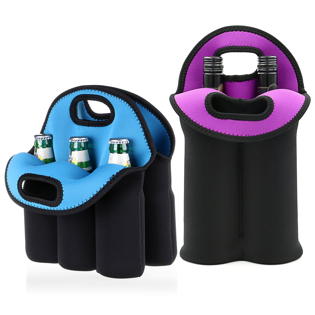 Hipiwe Set of 2 - Insulated Neoprene Wine Carrier Tote Bag + 6 Pack Beer Water Can Carrier Tote Bottle Holder Baby Cooler Bag - Perfect for Travel with Secure Carry Handle