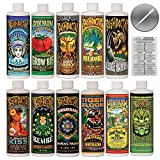 FoxFarm & Bushdoctor Liquid Nutrient Kit 11 Pack Bundle (16 oz Bottles) + Twin Canaries Chart & Pipette - 1 Pint Each
