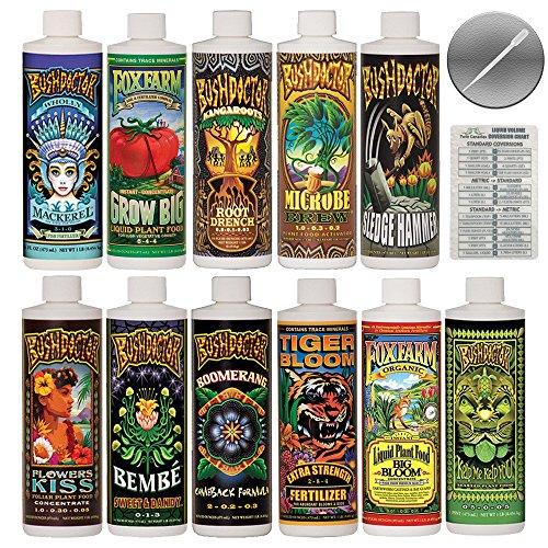 FoxFarm & Bushdoctor Liquid Nutrient Kit 11 Pack Bundle (16 oz Bottles) + Twin Canaries Chart & Pipette - 1 Pint Each by Fox Farm