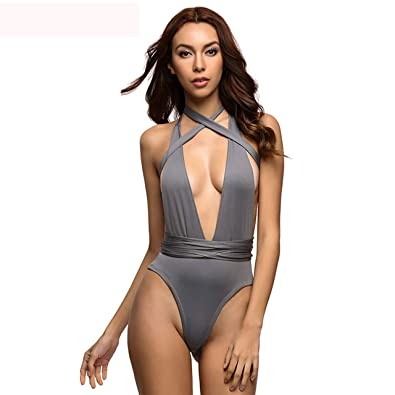 2c03c42434 Image Unavailable. Image not available for. Color  Sexy Deep V Neck wrap  around High waist one piece swimsuit women swimwear Female bathing suit