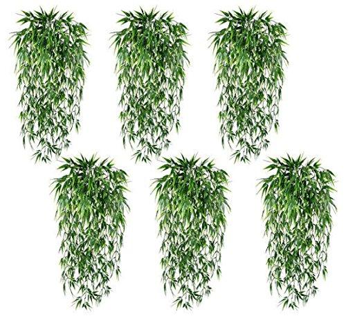 6 Artificial 33'' Bamboo Bush IN Outdoor plant Grass Decor Patio Aquarium Floral by Black Decor Home