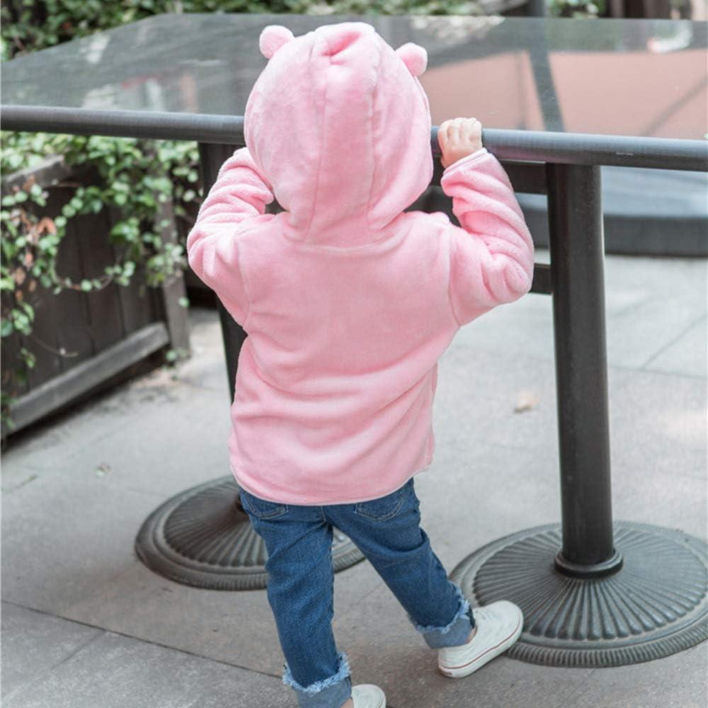 Bear Ears Shape Fleece Warm Hoodies Clothes Toddler Zip-up Jacket Sweatshirt Outwear for Baby Boys Girls