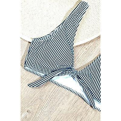 BMJL Women's Sexy Detachable Padded Cutout Push Up Striped Bikini Set Two Piece Swimsuit: Clothing