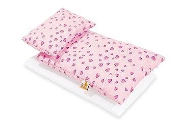 Pinolino 28350-7 - Ropa de cama para cochecito de juguete (3 piezas), diseño de corazones, color rosa