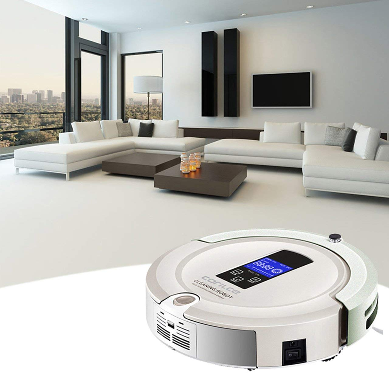 Jasnyfall Robot Cleaner Corile A325S Bow Line Cleaning Robot LCD Screen Aspirador automático Completo - Beige: Amazon.es: Hogar
