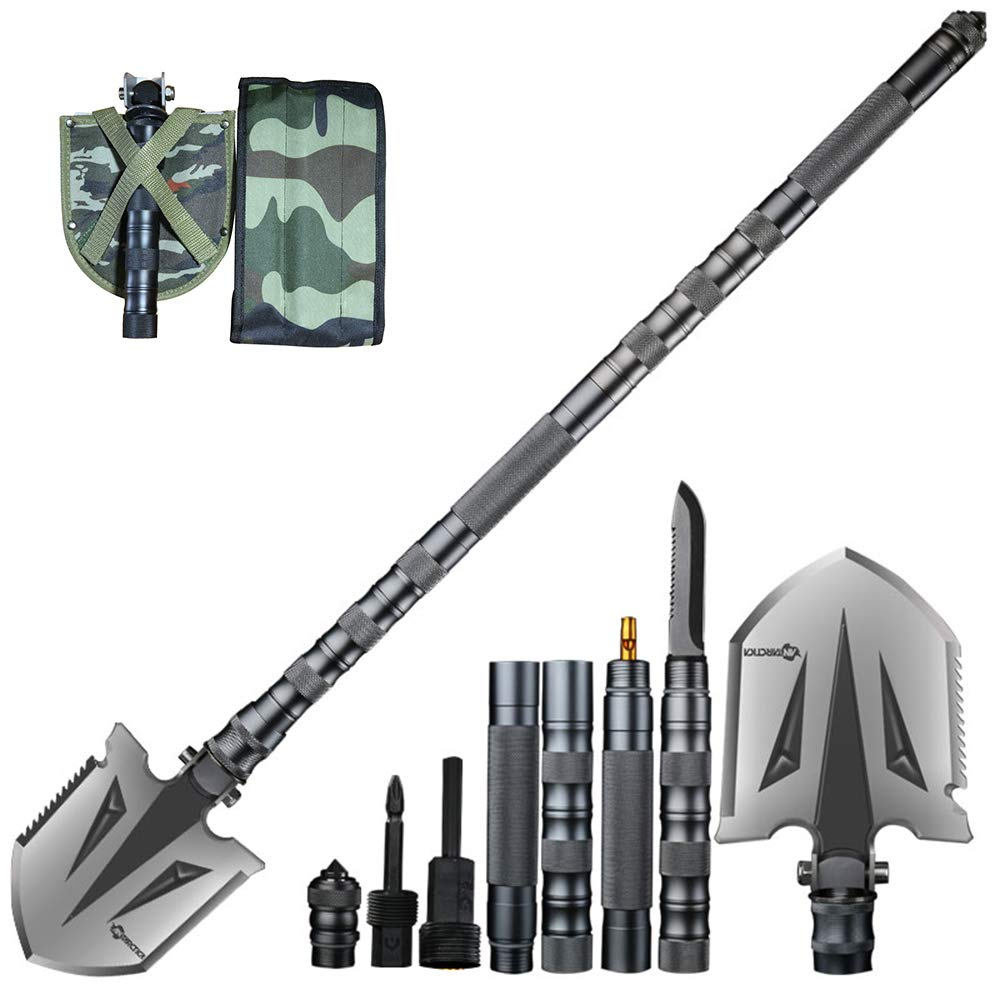 ANTARCTICA Military Folding Shovel Multitool Compact Backpacking Tactical Entrenching Tool for Hunting, Camping, Hiking, Fishing (Silver) by ANTARCTICA (Image #1)