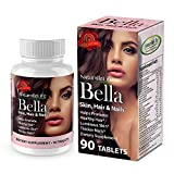 Bella Skin Hair & Nails Vitamin with Biotin 3000. Promotes Hair Growth Glowing Skin, Strong Nails. Anti-aging Skin Care. Multi Vitamin Formula.