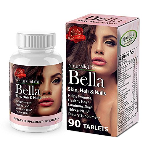 Bella Skin Hair & Nails Vitamin with Biotin 3000. Promotes Hair Growth Glowing Skin, Strong Nails. Anti-aging Skin Care. Multi Vitamin Formula. by Naturalle Life
