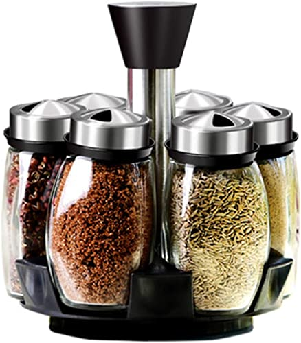 Yaguang Salt and Pepper Shakers Set 6 Glass Jars with 360 Rotating Holder Seasoning Bottles Stainless Steel Kitchen Spice Rack Set