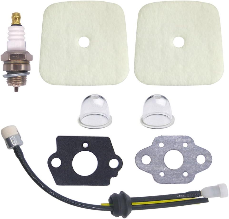 NIMTEK 2 Pack Air Filter with Spark Plug Fuel Line Repower Kit Gaskets for Mantis Tiller Cultivator 7222 7222E 7222M 7225 7230 7240 7920 7924 SV-4B SV-4BH SV-5C SV-5C//1 SV-5C//2 SV-5Ci SV-5Ci//2 SV-5H//2