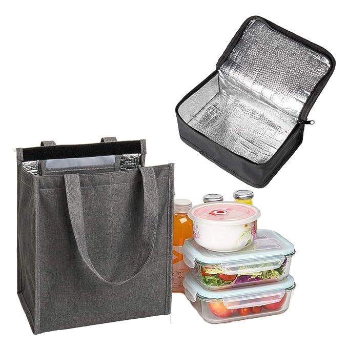 oficina al aire libre y picnic con 1 bolsa t/érmica port/átil para el almuerzo YELAIYEHAO Bolsas de almuerzo para hombres y mujeres Bolsa de almuerzo aislante impermeable para la escuela
