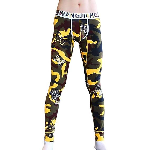 Hibote Hombre Pantalones Térmicos - Largo Delgado Stretch Leggings Imprimir Cómodo Algodón Ropa Interior Invierno Cálido Calzoncillos Capa Base L-2XL: ...